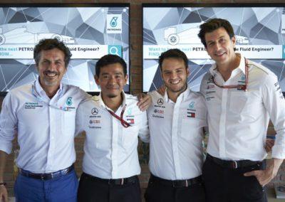 Van links naar rechts: Guiseppe D'Arrigo, Ahmad Nasri, Salvatore Schembri en Toto Wolff