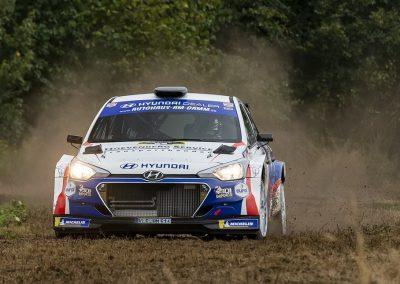Bob de Jong en Bjorn Degandt in volle actie met de Hyundai i20 R5 in de Rallye Sulingen